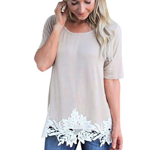 fa5fae8a8e6 Wintialy Women Ladies Solid Lace Patchwork Short Sleeve Pullover T-Shirt  Tops