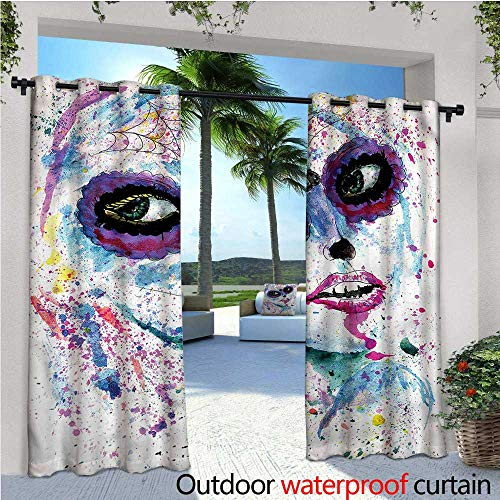warmfamily Girls Balcony Curtains Halloween Lady Make Up Outdoor Patio Curtains Waterproof with Grommets W72 x -