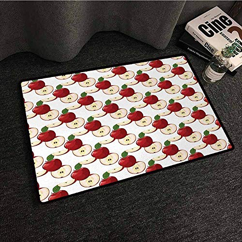 DILITECK Welcome Door mat Apple Retro Harvest Yield with Different Types of Cuts Halved Quartered Organic All Season General W35 xL59 Ruby Fern Green Cream