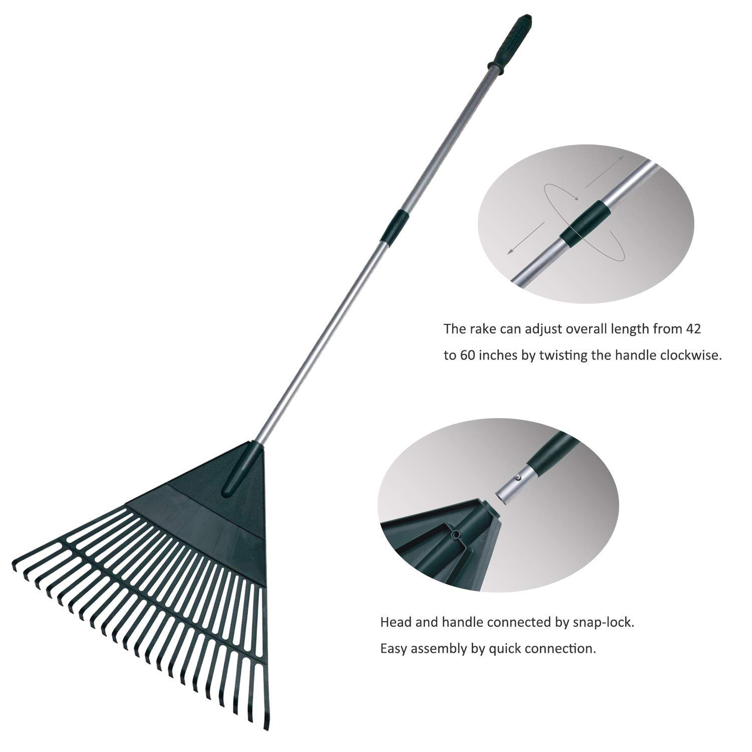 Toolbox Supplies 2 Gardening Yard Rakes. Adjustable 42 to 60 inches.