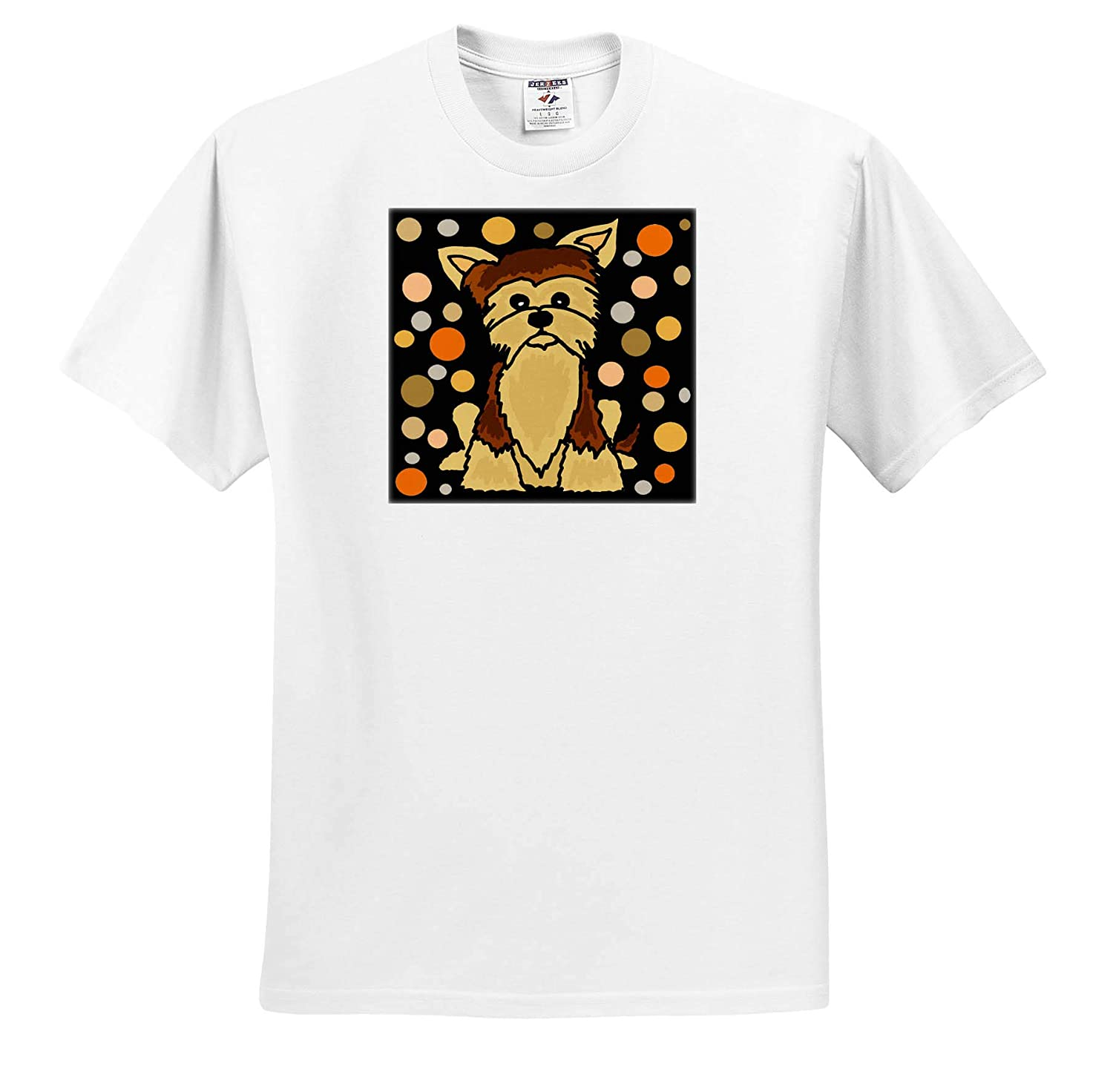 T-Shirts 3dRose All Smiles Art Funny Cute Yorkshire Terrier Dog and Circle Art Pets