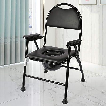 Silla WC Inodoro médica Silla de baño portátil Plegable Silla de ...