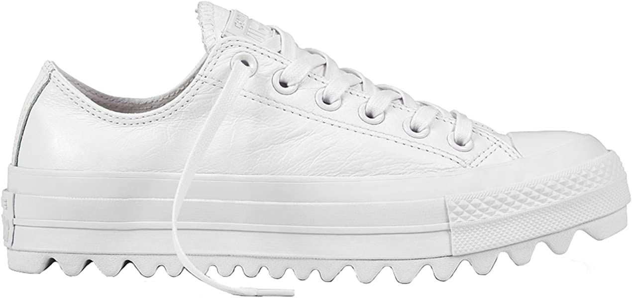 4c7305b412f0aa Converse Womens CTAS All Star Lift Ripple Ox White Leather Trainers 38 EU