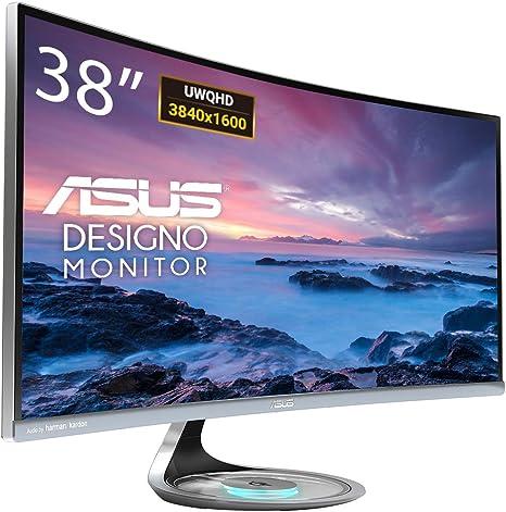 """ASUS Designo MX38VC - Monitor curvo de 37.5"""" UWQHD (3840x1600, 2300R, sin marco, cargador inalámbrico Qi, sistema de sonido Harman Kardon, antiparpadeo, filtro de luz azul) Negro: Asustek: Amazon.es: Informática"""