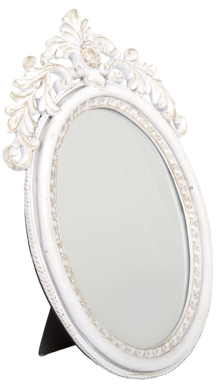 Antique Style Ornate Oval Freestanding Dressing Table Mirror White And  Silver Frame 35Cm X 22Cm