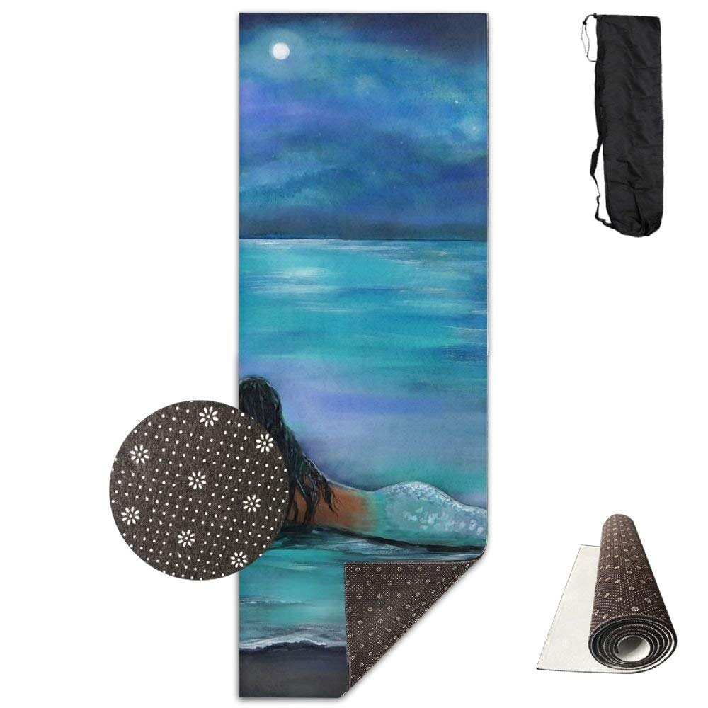 Mermaid, Moon and Stars Painting by Leslie Allen More Deluxe Yoga Mat Aerobic Exercise Pilates