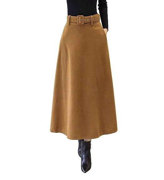 RIZ-ZOAWD Mujer Vintage Elegante Caliente Larga Falda de Lana A ...