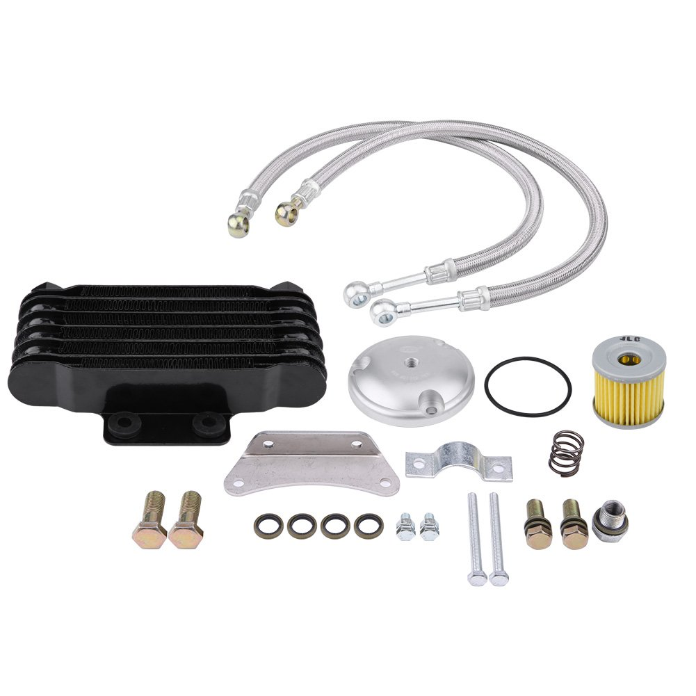 Acouto Motorcycle Engine Oil Cooler Cooling Radiator Kit for Suzuki GN125 EN125 EN150 GZ125 GZ150