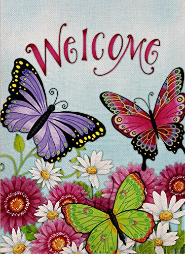 (Dyrenson Butterfly Garden Flag Welcome Quote Double Sided, Flower House Yard Flag Daisies, Summer and Spring Sunflowers Garden Yard Decoration, Home Decorative Seasonal Outdoor Flag 12 x 18)