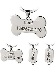 Bangoo Acier Inoxydable Pet ID Tags personnalisé personnalisée Dog Tags gravé Avant/arrière pour Chien et Chat avec différentes Formes