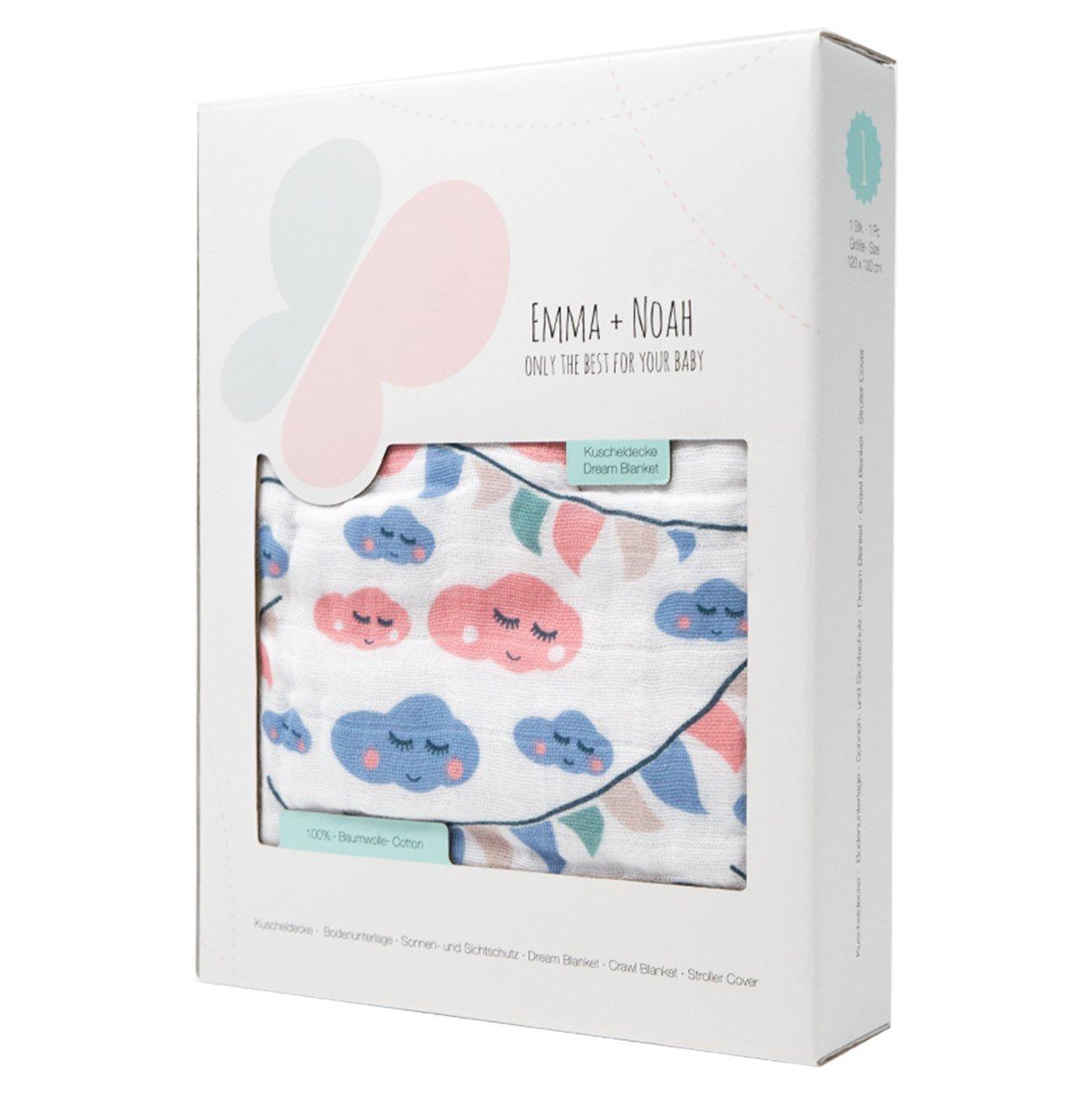 100/% Pure Cotton extra soft Colour: Blue Emma /& Noah Baby Blanket Boy 120x120 cm 4-Layered