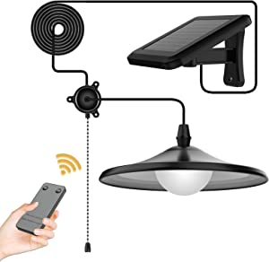 YUMAMEI 3W Solar Powered Pendant Light Outdoor Hanging Lamp, Remote Control Pendant Lamp with Adjustable Solar Panel, IP65 Waterproof for Outdoor Garden/Patio/Yard/Lawn/Pathway Decorations -Cool White