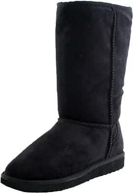 Black Furry Winter Boots Vegan Fleece Women (8)