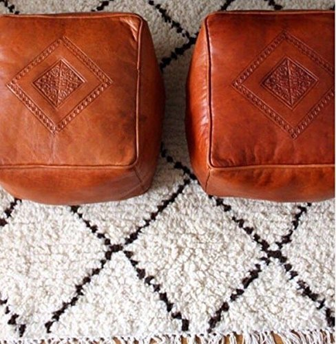 Moroccan Square Leather Poufs / Ottomans