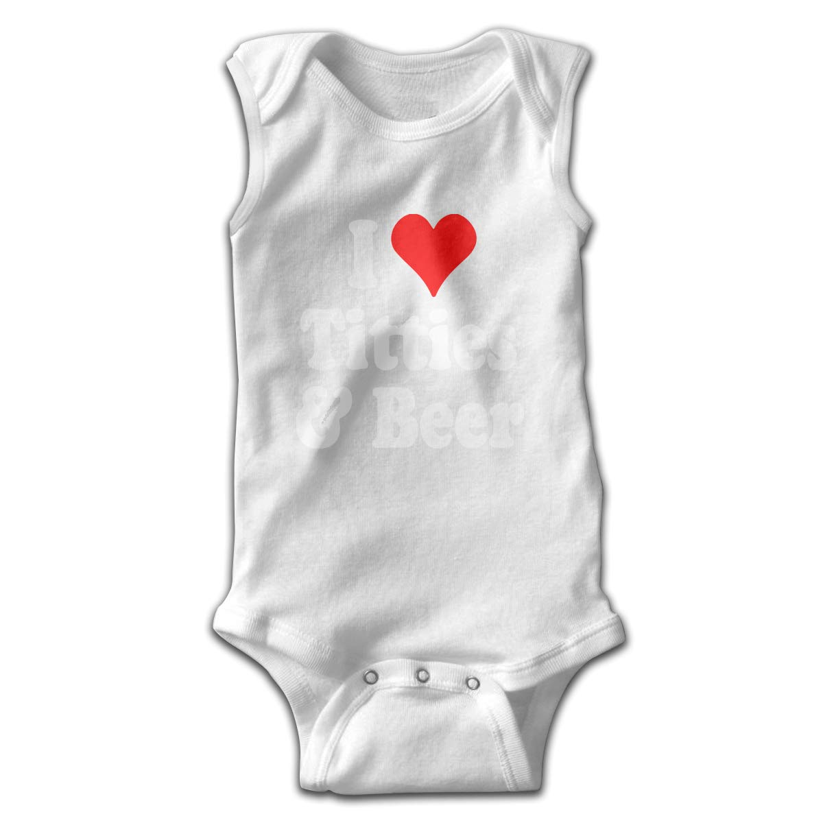 H@PAPA01 Heart Titties and Beer Baby Boys Sleeveless Romper Jumpsuit