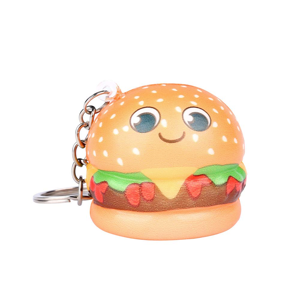 Squishy Toy For Stress Relief,Squishies Kawaii Cartoon Hamburger Slow Rising Cream Scented Keychain Stress Relief Toys (A)