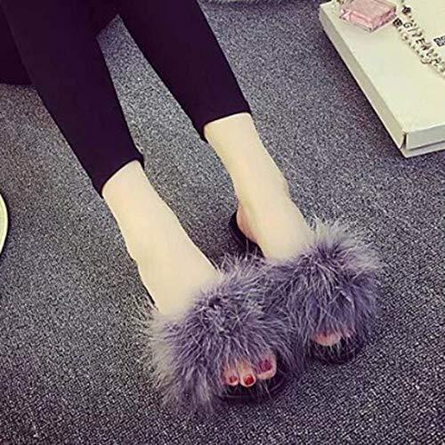 Donna Zhrui colore Shoes Grigio On Fur Sandalo Slip Grigio Slipper Sliders Fluffy Infradito Faux Womens 4qxfw1v4