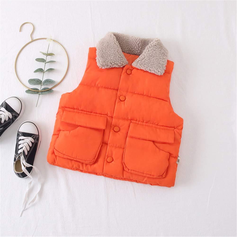 W Kids Vest Fur Collar Girls Down Cotton Clothes Baby Boy Vest Kid Jacket Coat,Orange,3Y by W