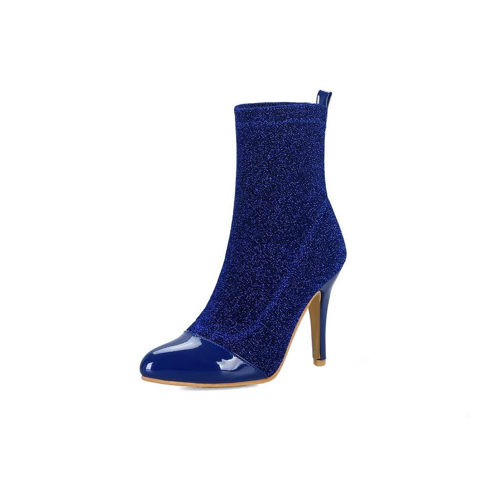 AN DKU02302 Damen Durchgängies Plateau Sandalen mit Keilabsatz Blau - blau - Größe  37