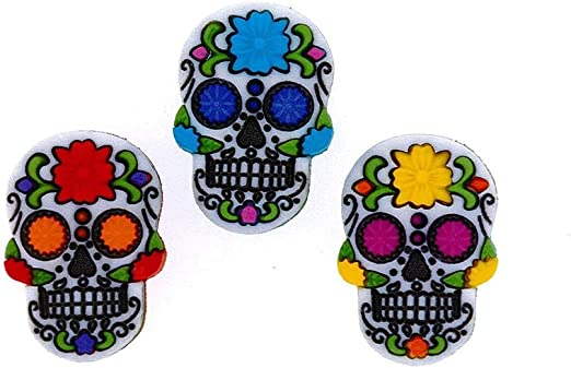 Sugar Skull Fabric Button Earrings