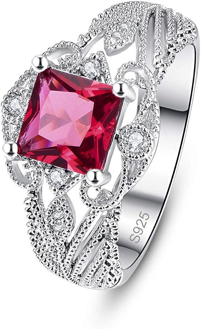 PAKULA 925 Sterling Silver Women Princess Cut Simulated Ruby Filigree Leaf Band Engagement Ring