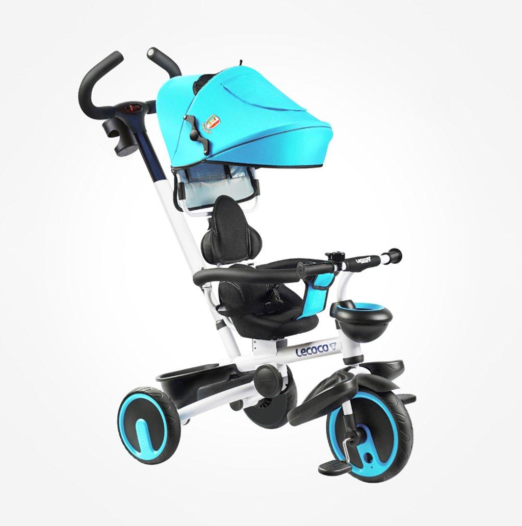 子供用三輪車1-5歳バイクフォールディング/静か/回転ベビーキャリーベイビーハーネスベビーベビーカーブルー25 Kg B07F3B8SM1