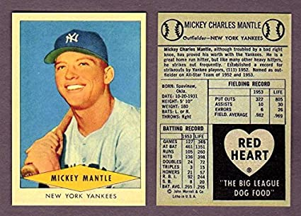 Mickey Mantle 1954 Red Heart Baseball Reprint Card Yankees