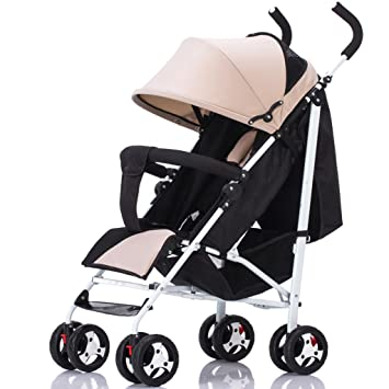 27fa7893b6 Amazon.com   TLMY Ultra-Light Baby Stroller Can Sit On The Reclining Baby  Umbrella Baby Trolley (Color   Khaki)   Baby
