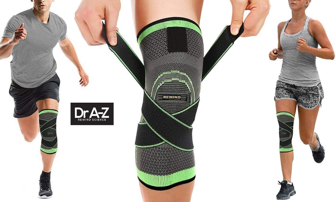 Knee Brace Compression Sleeve Support DCF Cross Wraps Anti-Slip Firm Grip - Prevent Injuries, Pain Relief, Improves Mobility - Crossfit, Weightlifting, Powerlifting, Jog - 1 Leg (Green-A)