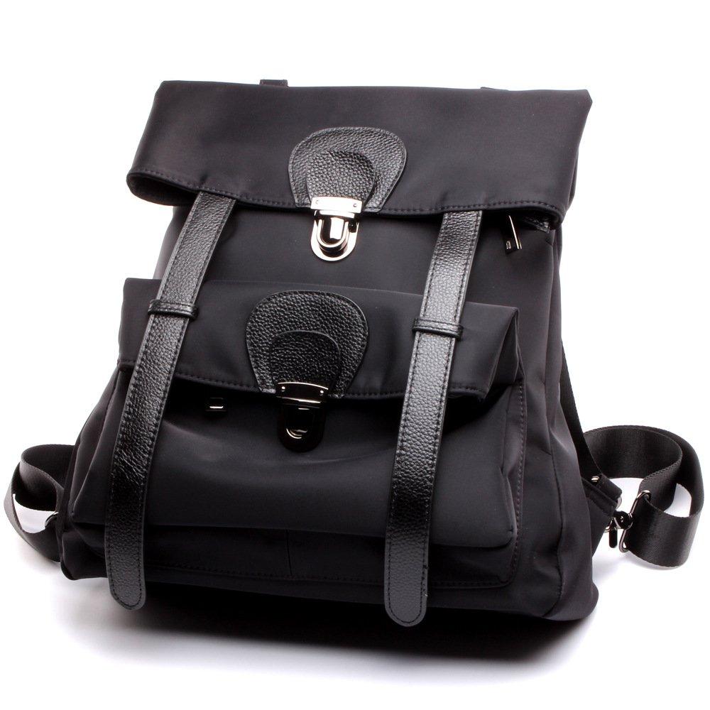 レディースショルダーバッグハンドバッグのためのバックパック本革ファッションバッグ32 * 35 * 12 Cmの防水オックスフォード B07GCBHND2 Black