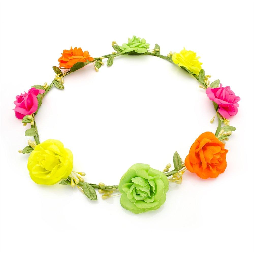 Amazon Multi Neon Tone Rose Flower Hair Garland Crown Headband
