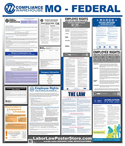 - 2019 Missouri Laminated MO State Federal All in 1 Labor Law Poster Workplace Compliance