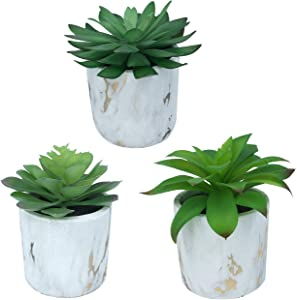 Set of 3 Artificial Green Succulent Plants with Decorative Marble Pots – Realistic Greenery Mini Potted Faux Plant Arrangements for Home Office Decor, Shelves, Bathroom, Kitchen Table Centerpieces