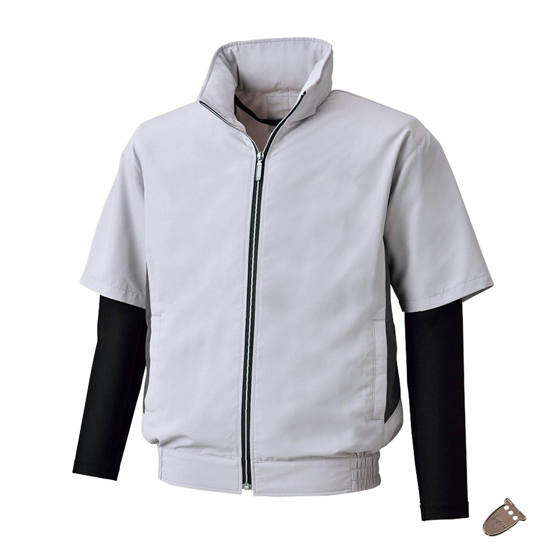 空調服 UVカット半袖ジャケット コンプレッション袖付(ファンなし/単品/ブルゾンのみ/Japan行田こはぜ付き)《045-bk6059K》 B07CXGCCH7 68-シルバー×ブラック M