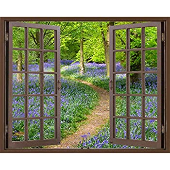 Window Frame Mural Bluebell Wood Huge Size Peel And Stick Fabric