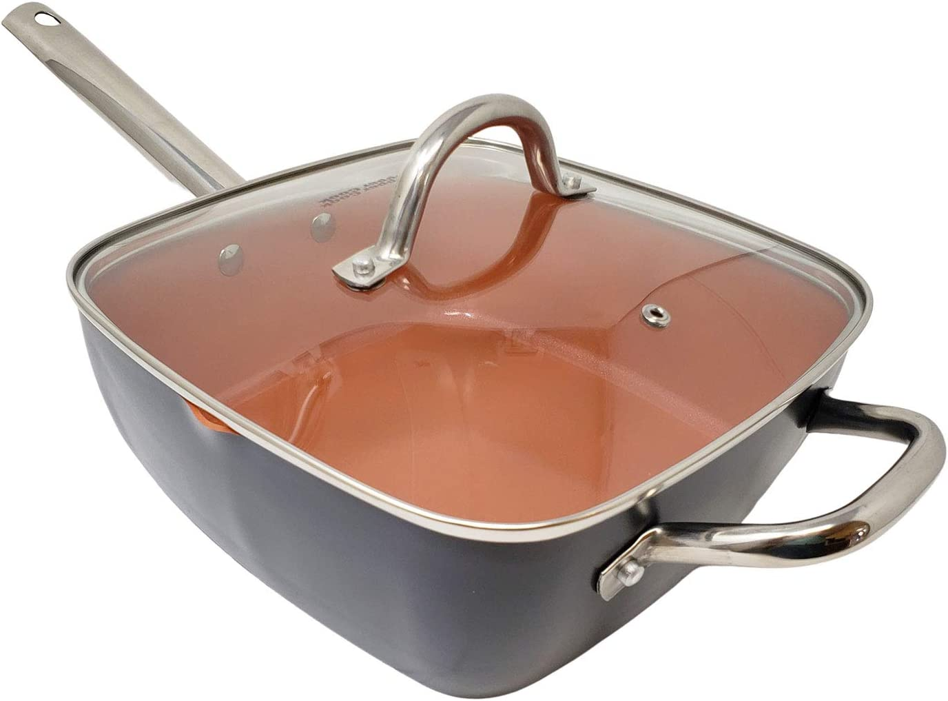 Copper Nonstick Ceramic Square Multipurpose Fry Braise Stew Steam Deep Pan with Helper Handle & Glass Lid (9.5