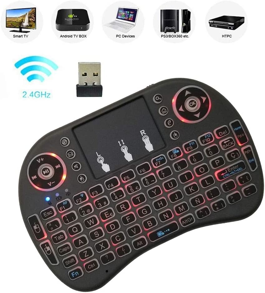 Support Language Spanish i8 Air Mouse Wireless Backlight Keyboard with Touchpad for Android TV Box /& Smart TV /& PC Tablet /& Xbox360 /& PS3 /& HTPC//IPTV