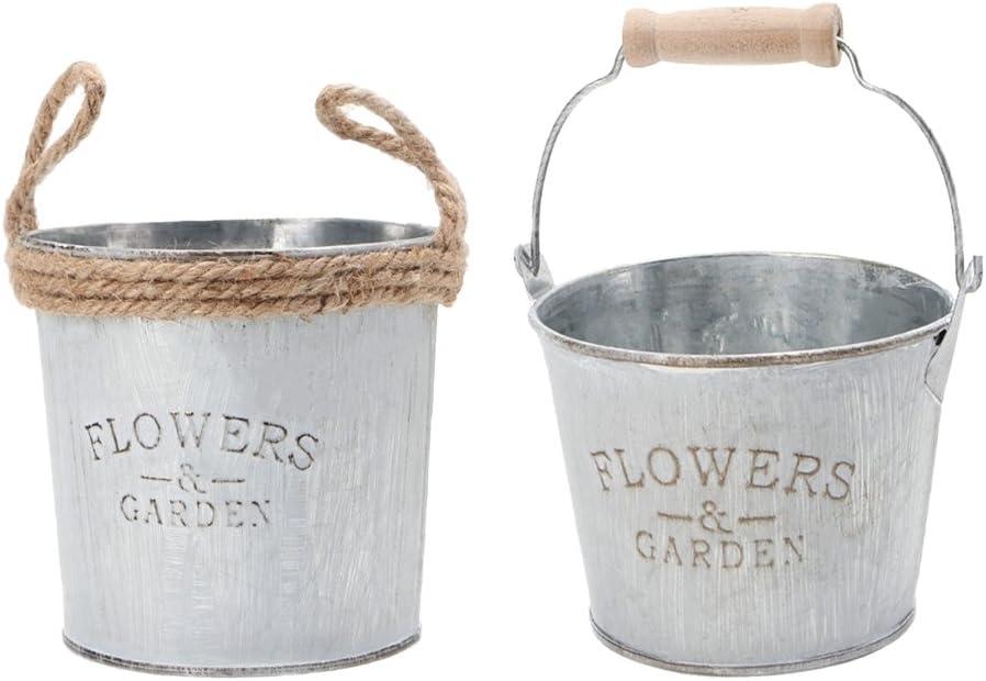 2pieces Shabby Galvanizado Metal Hierro Flor Plantas Cubo Florero Maceta - B