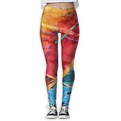 LuckYYou Watercolor Red Blue Novelty Yoga Pants For Youth S