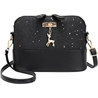 silverone Shell Shoulder Handbag Sequins Bag Handbag Purse Crossbody Messenger Bag with Deer Pandent/Black