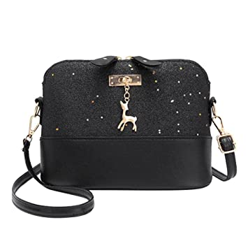 0bfc43b7294b5 Buy amazingdeal Shell Shoulder Handbag Women Shining Sequins PU Leather  Messenger Bag/Black Online at Low Prices in India - Amazon.in