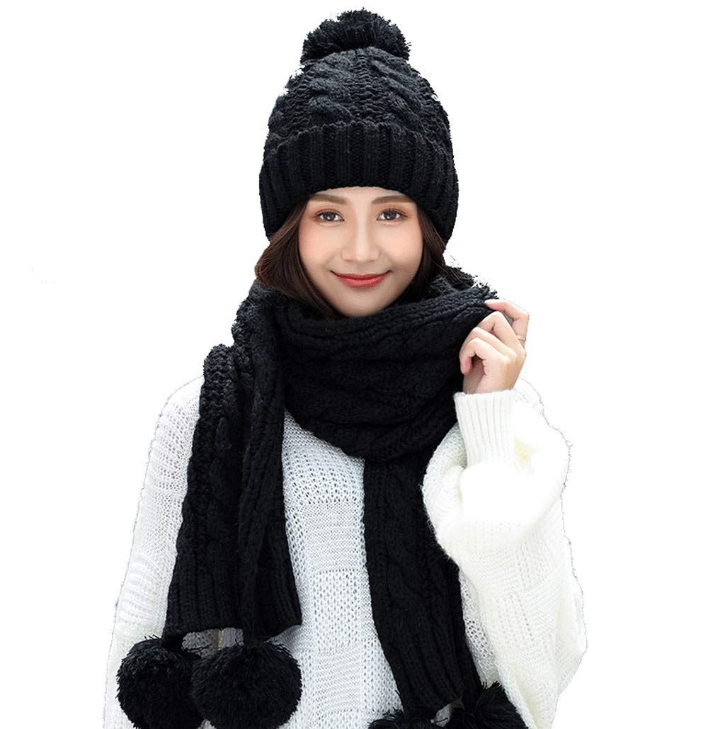 A Hat Female Casual Wild Scarf TwoPiece Knit Warm Plus Velvet (color   F)