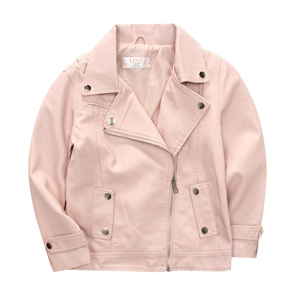 a0d68da41 Amazon.com: LJYH Girls Pink Faux Leather Motorcycle Jacket ...