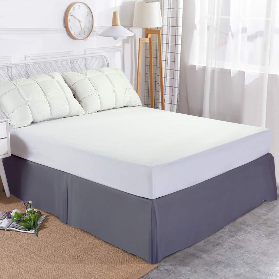 Edilly Hotel Luxury Bed Skirt Soft Microfiber 15-Inch Drop Wrinkle /& Fade Resistant White, Queen