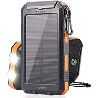 soluser ソーラーバッテリー モバイルバッテリーソーラーチャージャー 10000mAh大容量充電器 2USB出力ポート羅針盤が付きIP67完全防水 高輝度LEDライト付き 災害時/旅行/アウトドアに大活躍 iPhone/Android対応 SOS発信 UL/ROSH/PSE認証済