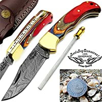 "Multi Wood 6.5"" Handmade Damascus Steel Folding Pocket Knife With Back Lock+sharpener Rod+A Valuable Keychain100%Prime Quality-Premium Manufacture -Excellent Design in Damascus Steel -A Priceless Gift"