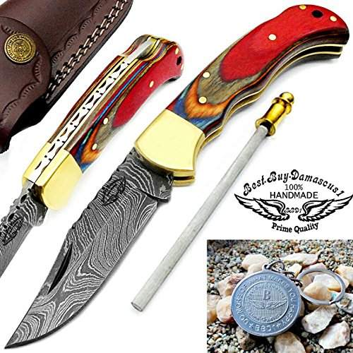 "Multi Color Wood 6.5"" Handmade Damascus Steel Brass Bloster plus Sharpening Rod Folding Pocket Knife Back Lock 100% Prime Quality"