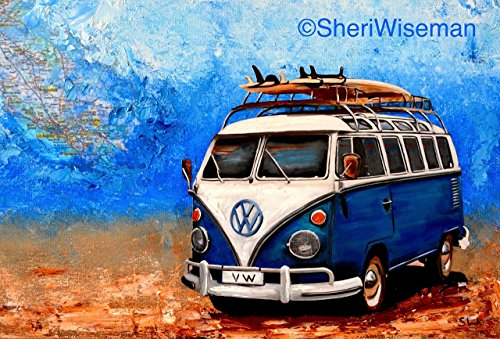 1960's Blue Volkswagen Bus, artist signed PRINT, Surfboards, VW Bus, Camper Bus, fathers day, gift, christmas, present, men, man