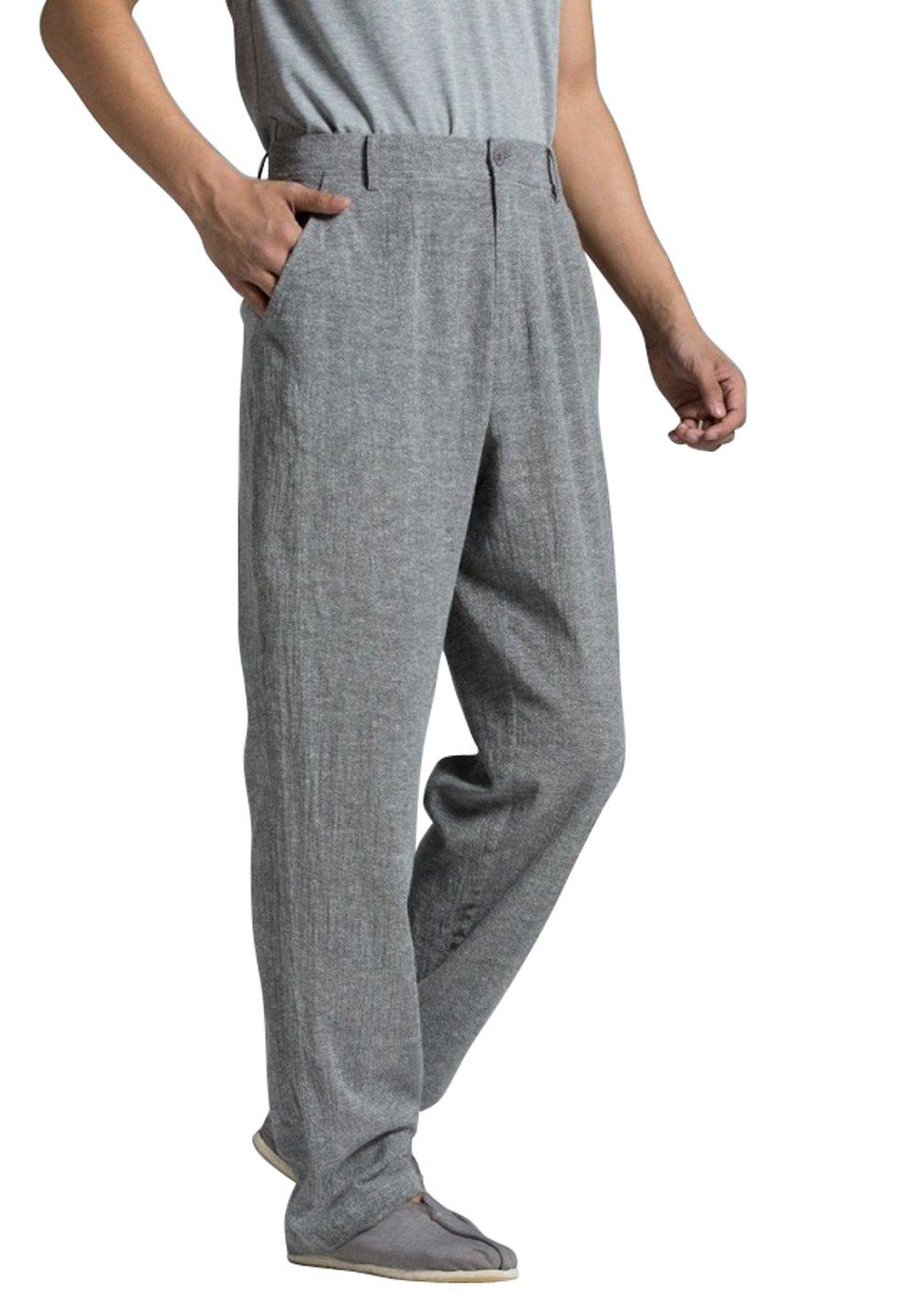 ZanYing Men Casual Pants Summer Straight Length Leisure Pants (L, Dark Grey)