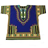 Traditional Thailand Style Dashiki - Available in Several Color Combinations (Navy) One Size